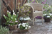 Spring terrace in pastel colors