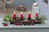 Natural Advent decoration, Pinus twigs and cones