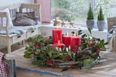 Natural Advent wreath made of Clematis (clematis) tendrils
