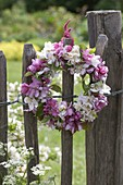 Small wreath of Malus flowers hung on fence