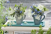 Blue-white bouquet of Borage (Borago) and elderflower