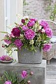 Lush bouquet made of Paeonia (peony), Lupinus (lupine)