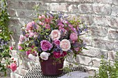 Lush bouquet made of pink (rose), Nepeta (catmint)