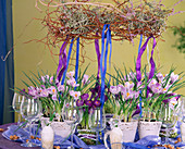 Easter table decoration with crocuses