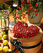Heart of rosehips on hatbox