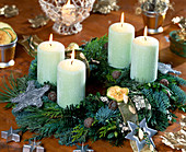 Advent wreath of pine, fir, thuja, cypress, box branches