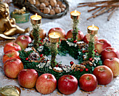 Advent wreath on wire with apple