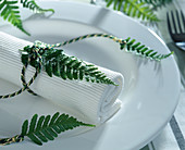 Napkin decoration with fern leaves and cord