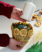 Candle decoration, push candle into sponge