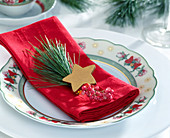 Napkin deco, silk pine twig, pink pepper and gold star
