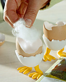 Sow cress in eggshell, fill the eggshells with cotton wool