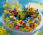 Spring wreath stick in heart shape, Bellis, Narcissus, Muscari
