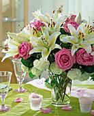 Lilium (lily), roses, viburnum (snowball)
