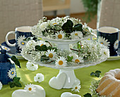 Etagere with daisy flowers, gypsophila and ivy leaves
