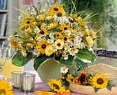 Summer bouquet with Rudbeckia (sun hat), Argyranthemum