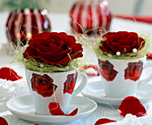 Red rose petals in rose cup, sisal cuff with pearls