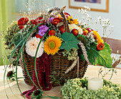 Basket with roses, Helianthus (sunflower), Helichrysum