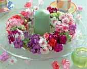 Summer wreath with phlox (phlox) and hydrangea