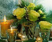 Rose bouquet Advent with yellow-green roses, Pinus