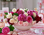 Bowl of historic roses, rose water and rose perfume