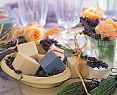 Lavender and rose soap Rose 'Ariane', Lavandula 'Nana