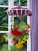 Flower drying, hanging upside down, hydrangea, pink, gypsophi