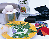 Eggs with leaf pattern-ingredients-various leaves, egg color, nylon stocking,