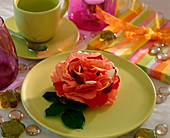 Table decoration, two-tone rose, rose blossom with leaves