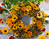 Flowers of Calendula (marigold) wreath