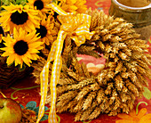 Wreath made of wheat ears and helianthus (sunflower), Thanksgiving