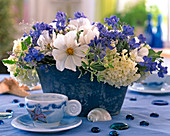 Jardiniere with Delphinium ajacis (one year old larkspur)