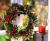 Moss wreath, Capsicum (ornamental paprika), Quercus ilex (Holm oak)