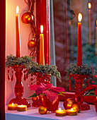Candlestick with small Cupressus arizonica wreaths