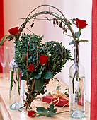 Rose, buxus (box) with hare wire as heart