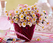 Bellis (daisy) bouquet in pink glass