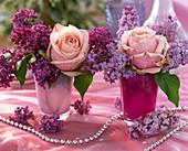 Syringa (lilac), rose, silver pearls string