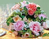 Pink 'Abraham Darby', 'Spring Gold' (Rose), Paeonia