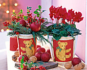 Pots, Christmas decorated with decoupage technique