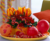 Tin bowl with Tulipa (tulip), Oxalis (lucky clover)