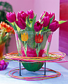 Tulips painted on glass vase