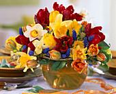 Tulipa (Tulip) Red, Yellow and Orange, Narcissus (Daffodil)