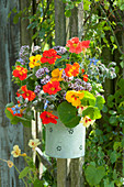 Colorful bouquet with edible flowers hung on posts