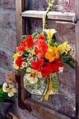 Small bouquets with Tropaeolum majus (nasturtium), Salvia