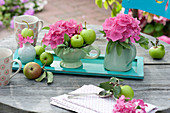 Small hydrangea table decoration, salvia (sage)