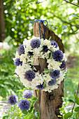 Wreath made of echinops (globular thistle), hydrangea