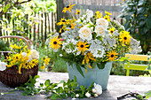 Rural bouquet in metal planter, Rose, Achillea