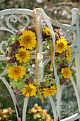 Autumn wreath from Anthemis, Sedum