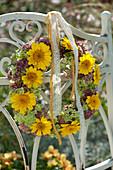 Autumn wreath from Anthemis, Sedum