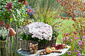 Autumn arrangement on table at the garden fence