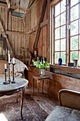 Living room in old barn